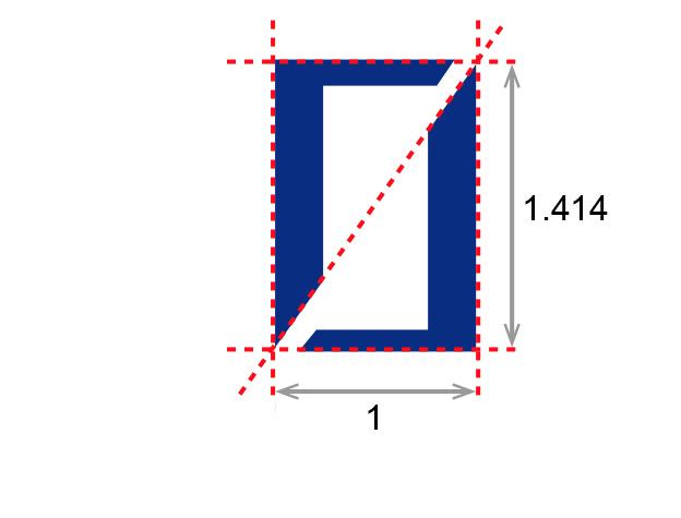 ロロゴマークの寸法の縦横比ついての説明イメージ